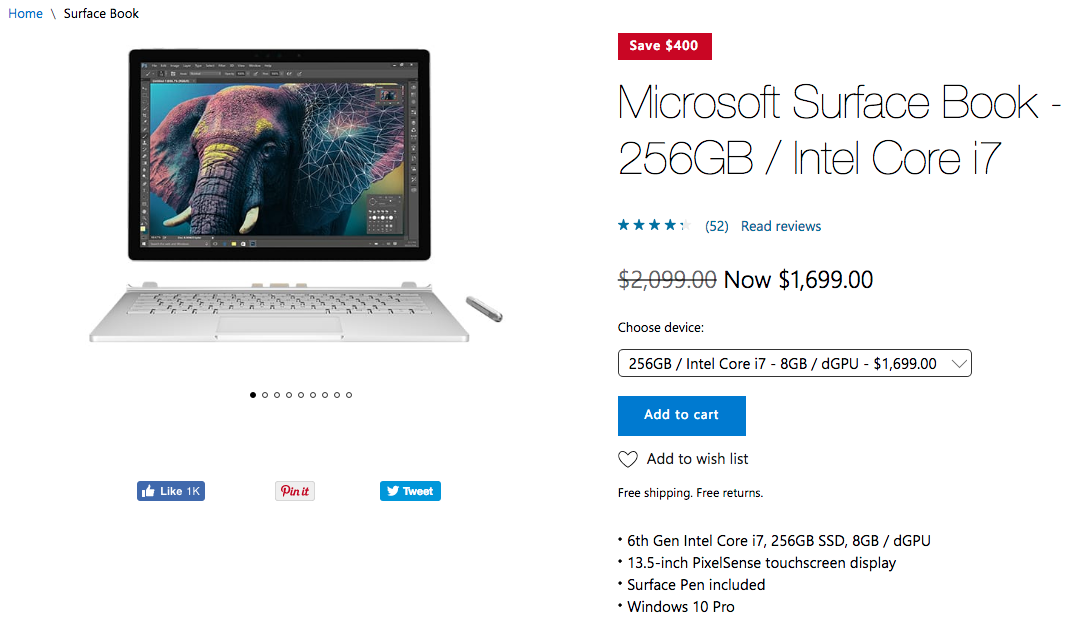 Microsoft Store: Save up to $400 on Surface Book i7