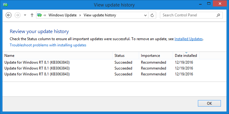 Surface RT Windows Update loop in KB3063843